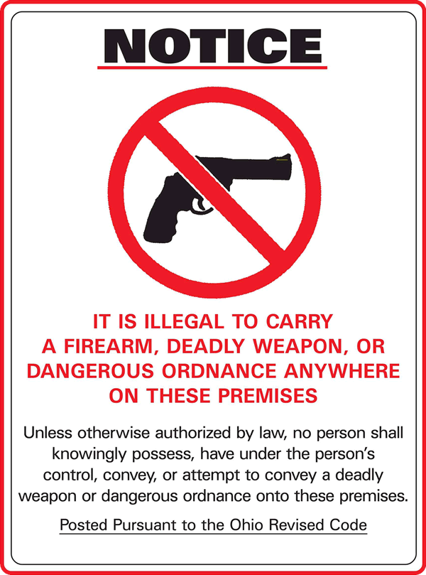 Notice - No Weapons Allowed